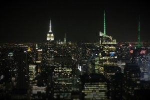 A night time view from the Top of the Rock